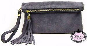 ladies-dark-grey-suede-tassel-clutch-bag