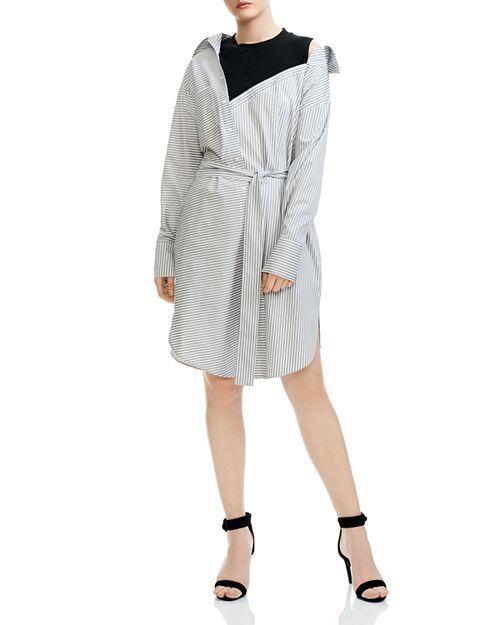 Maje Riava Destructured Hemd Kleid In Gestreift Baumwolle Größe M Orig. Nwt
