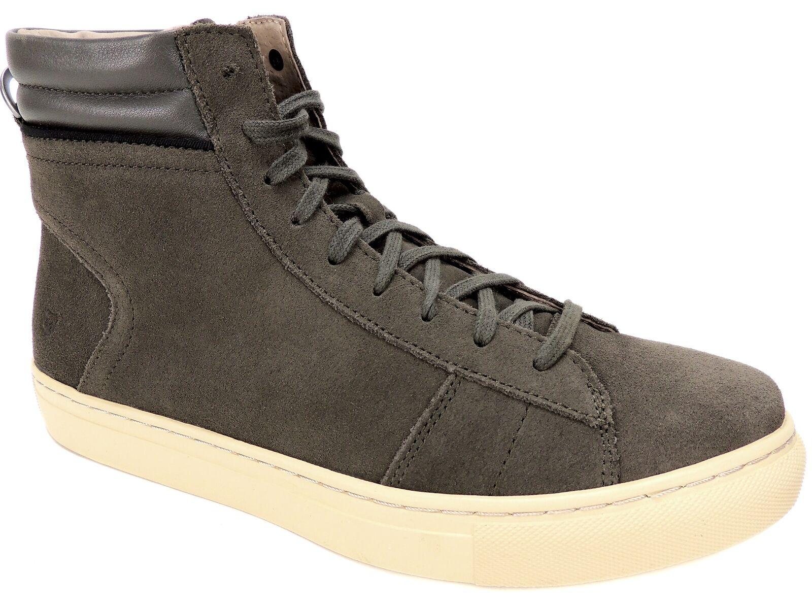 Andrew Marc Men's Remsen High-Top Sneakers Gun/Cream Leather Size 10 D