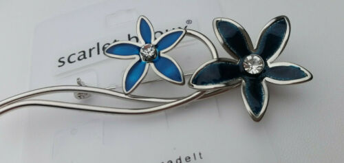 Brosche Anstecknadel Blume 8 cm silberfarben petrol blau klar Glitter B 1