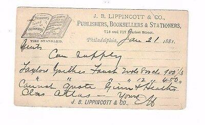 Werbung Philadelphia,lippincott,publishers,bücher 1881 Ux5 Postal Karte Nordamerika