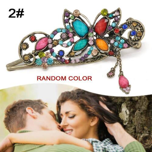 Colorful Women Retro Crystal Butterfly Flower Hairpins Hair Stick Hair Clip BS