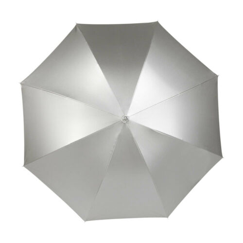 Silver Shiny Metallic Automatic Push Umbrella with Crook Handle Wedding Brolly
