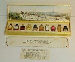 Vintage-Les-Meilleurs-Parfums-de-Paris-10-Miniature-Perfume-Bottles-w-Box-Etc