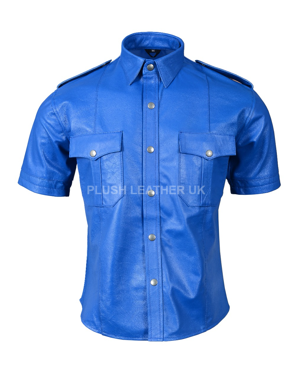 Herren VERY Hot Genuine Sheep LEATHER ALL Blau Police Uniform Shirt BLUF GAY