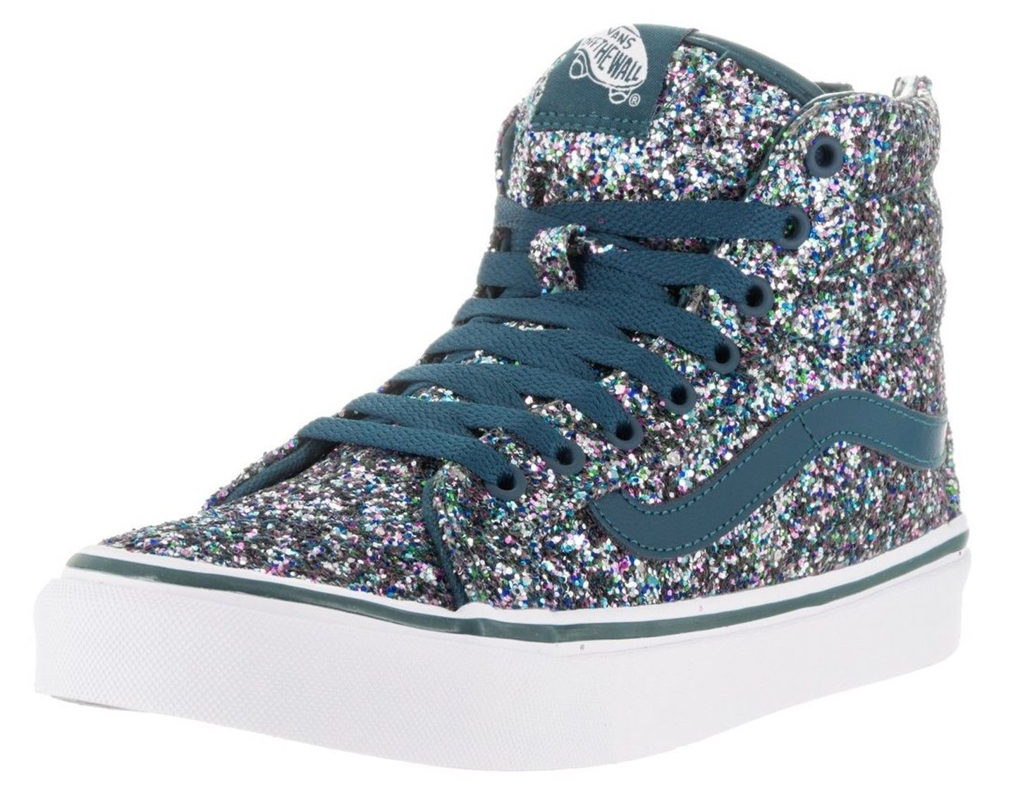 NEW NIB VANS SK8-HI SLIM (CHUNKY GLITTER) ATLANTIC DEEP SZ 5.5 WOMENS OR MENS 4
