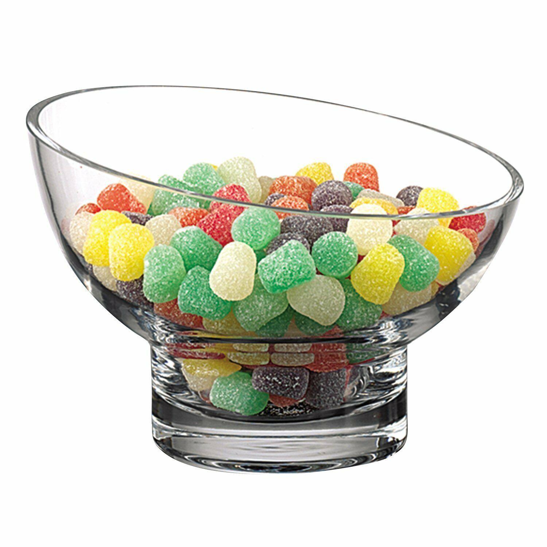 (D) Centerpiece 'Kira Slant' Fruit Bowl 4 H, Lead Free Crystal Glass