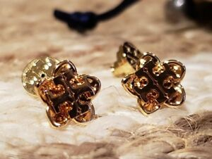 5b64557fa Image is loading Tory-Burch-Cecily-Golden-Flower-Stud-Earrings-Antique-