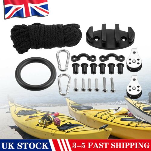 Kayak Canoe Anchor Trolley Kit Rope Pully Block Cleat Pad Eye Rigging Ring 2020