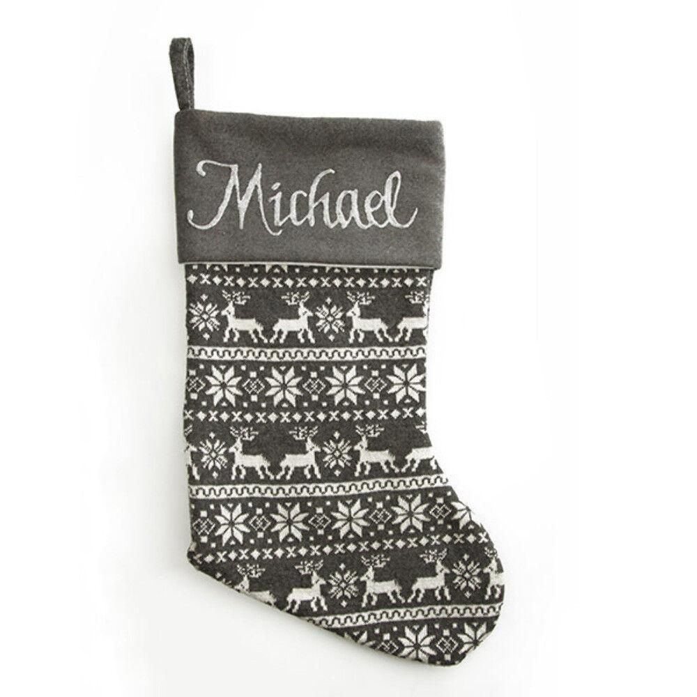 Grey Christmas Stockings Personalised.Personalised Grey Knitted Christmas Stocking