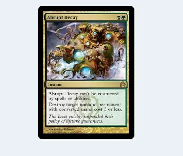 Instant Rare ABRUPT DECAY NM mtg Return to Ravnica Gold