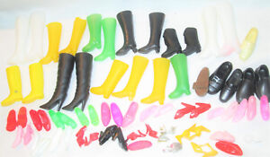 Vintage-and-current-Barbie-Shoes-Lot-Boots-Heels