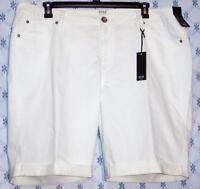 Ana A Approach Cuff Leg Stretch Denim Bermuda Shorts White 22w