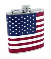 Foster & Rye By Twine 6-ounce Stainless Steel Flask With American Flag Design, I on Sale