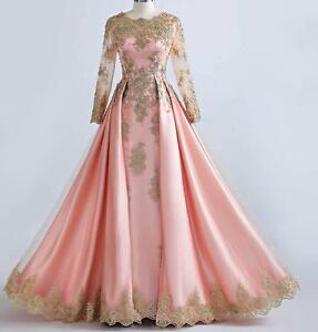 Beaded-Gold-Lace-Long-Sleeve-Muslim-Evening-Dresses-Pink-Formal-Prom-Party-Gown