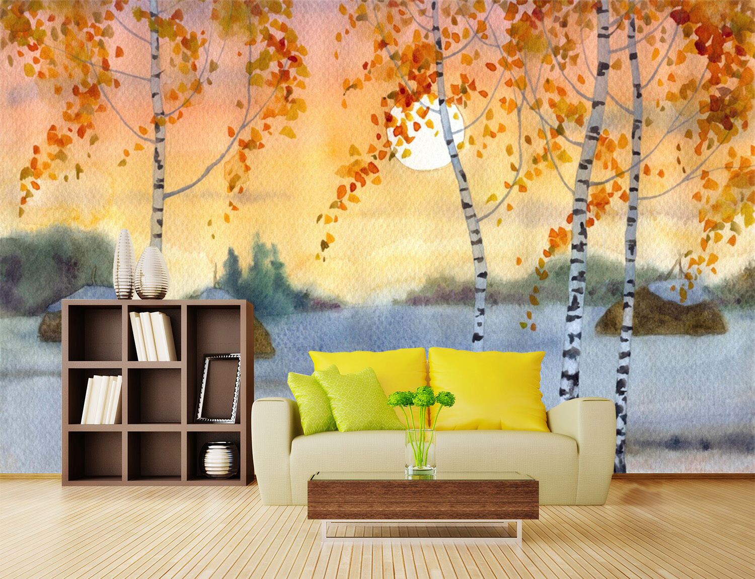3D Sunset Trees painting Wall Paper Print Decal Wall Deco Indoor wall Mural