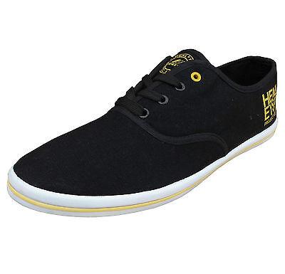 Henleys Men's Troy Canvas Fashion Shoes Trainers Pumps Plimsole black / yellow