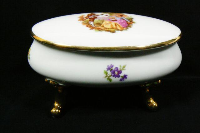 """Large 5.5"""" Limoges France Porcelain gold footed trinket box Romantic scene oval"""