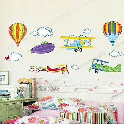 Colorful Planes Hot Air Balloons Wall Stickers Vinyl Paper Decal Decor Kids Room
