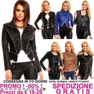 new style 9bb3b d41be Dettagli su Giacca in Pelle Donna Giubbino di Ecopelle Ecologica da Moto  Chiodo per Slim Fit