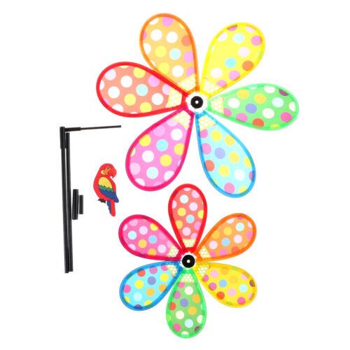 Multicolor Dots Windmill Garden Ornaments Wind Spinner Whirligig Kids Toy vbuk