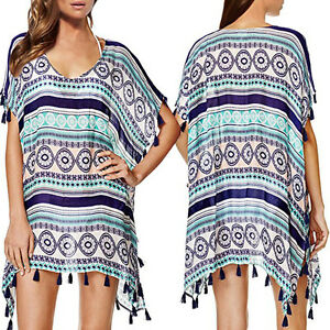 Women-Bikini-Cover-Up-bohemian-Tassel-Casual-Sexy-Home-Beach-Cotton-Dress