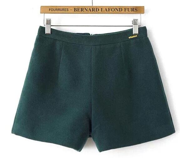 Shorts women's shorts wool comfortable soft and warm green 6092