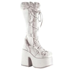 Demonia-CAMEL-311-Women-039-s-White-Vegan-Leather-Platform-Punk-Gogo-Faux-Knee-Boots