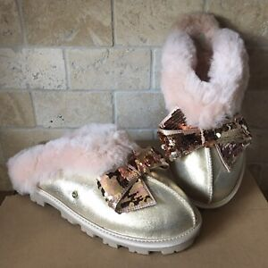 Details about UGG COQUETTE SEQUIN SPARKLE BOW GOLD SHEEPSKIN CUFF SHOES SLIPPERS SIZE 11 WOMEN