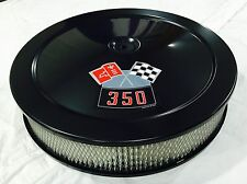 """CHEVROLET AIR CLEANER BLACK 14"""" ROUND 4 BBL WHITE FILTER 350 DECAL NEW"""