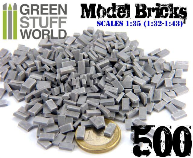 500x Ceramic Model Bricks - GREY - Basing Scatter Scenery - 1/35 (1/32 - 1/43)