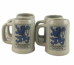 Lot of 4 VTG Lowenbrau Munchen Gray Ceramic McCoy Pottery Mugs Steins 6395
