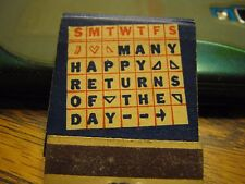 Vintage Unused Puzzle When Is Your Birthday Coupon Inside Matchbook