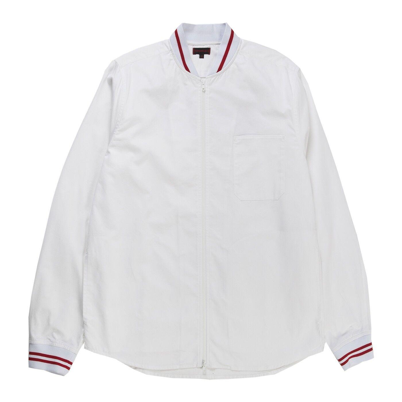 CLOT Men Ribbed Zip Up Shirt Weiß