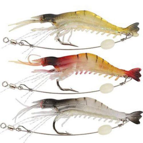 show original title Details about  /EC /_ 3pcs Soft Lifelike Shrimp prawn lures Bright Bead Hook