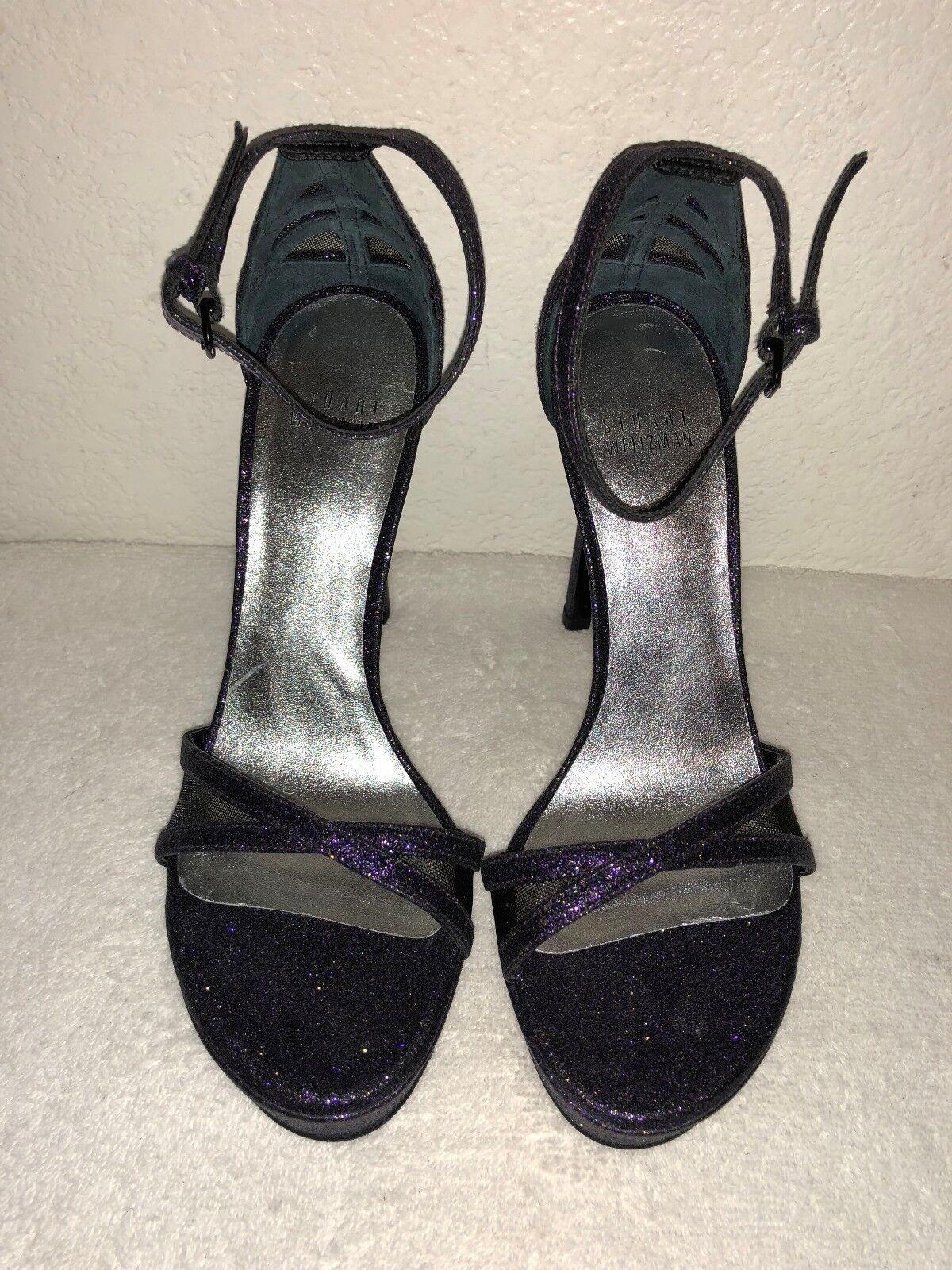 Stuart Weitzman Tiz you Glitter Glitter Glitter Platform Ankle Strap Sandals Größe 7 f765c0