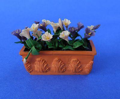 Miniature Dollhouse Flowers In Window Box Pink & Purple 1:12 Scale New