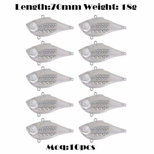 Fishing Lures 10pcs Jerk Bass 75mm21g Transparent Lead Heads Unpainted Fast Bass