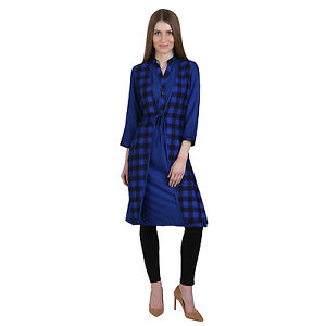 Vipakshi Women's Printed Blue Black Checkered Stylist Cotton Kurti (RS-8700 K)