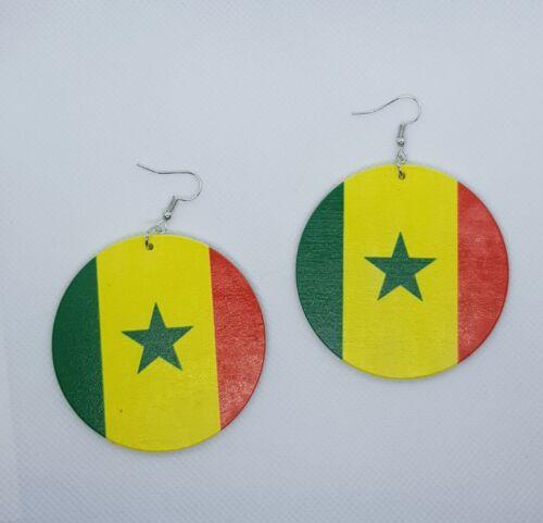 African flag wooden earring
