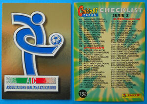 CHECKLIST DIFENSORI new 3 CARDS PANINI CALCIO 97 N