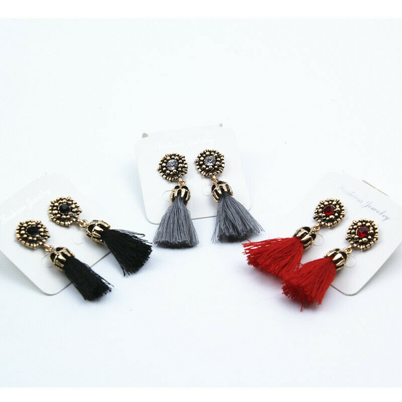 Gold Dangle Studded Women Fashion Earring Black/ Grey Tassel Jewel Rhinestone