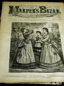 Harper's Bazar August 8 1874 with Rare Infant Toddler Childs PATTERN Supplement