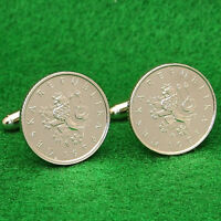 Czech Republic Coin Cufflinks, Bohemian Lion, 1 Kr. Ceska Republika