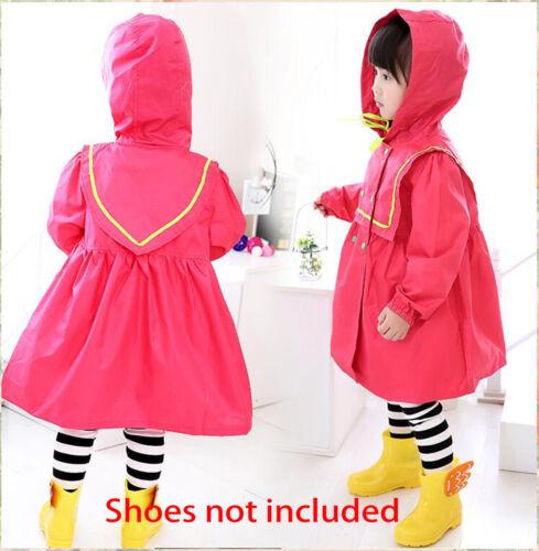 Qute Outdoor Girls Kids Dot Hoodie Raincoat Toddler Waterproof Rainwear Free Bag