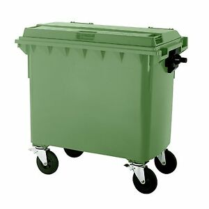Müllgroßbehälter Müllcontainer Mülltonne 660 Liter Flachdeckel grün