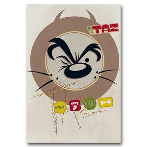 Looney-Tunes-Taz-Canvas-Wall-Art-Print-Tazmanian-Devil-Vintage-Retro-Kids