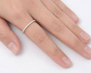 USA-Seller-Eternity-Thin-Band-Ring-Sterling-Silver-925-Best-Deal-Jewelry-Size-8