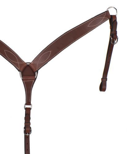 HEAVY DUTY LEATHER DARK BROWN HORSE BREAST COLLAR   PLATE ATTACHES TO SADDLE