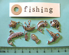 7 tibetan silver fishing charms fisherman boat fish